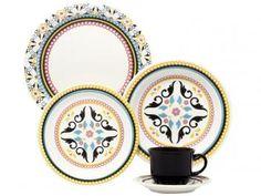 Aparelho de Jantar Chá 20 Peças Oxford - Cerâmica Redondo Floreal Luiza