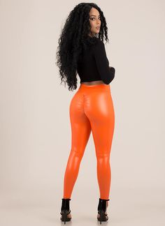 Back Side Ruched Faux Leather Leggings NEONORANGE Leather Leggings Outfit, Black Leather Leggings, Leather Pants, Leather Outfits, Sport Girl, Clothes For Women, Learn Chinese, Bustiers, Hopeless Romantic