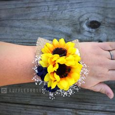 Navy Sunflower Corsage Sunflower and Navy Corsage Wrist Corsage Sunflower Corsage Wedding Corsage Flower Corsage Sunflower Corsage, Sunflower Boutonniere, Blue Corsage, Prom Corsage And Boutonniere, Sunflower Bouquets, Blue Bouquet, Corsage Wedding, Wrist Corsage, Wedding Bouquets