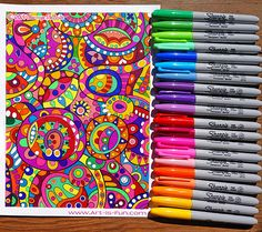 A coloring page done entirely with Sharpies! Learn about my favorite coloring supplies here.