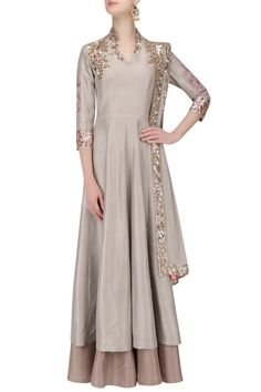 Manish Malhotra presents Grey and gold badla embroidery double layered kurta set available only at Pernia's Pop Up Shop. Indian Party Wear, Indian Wear, Chiffon Fabric, Silk Fabric, Indian Dresses, Indian Outfits, Indian Clothes, Layered Kurta, Plazzo Suits