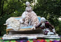 Large Antique Luigi Fabris Capodimonte Porcelain Dresden Lace Group Figurine