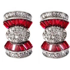 Ben Amun Ruby Deco Bow Earrings ($210) ❤ liked on Polyvore