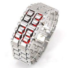 Fashion Lava Metal LED Watch Full Stainless Steel Digital Watch For Women Men Sports Watches Waterproof Male Military Watch