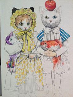 ヒグチユウコのお絵かき&写真日記 : Photo Drawing Painting Images, Japanese Artwork, Cat Character, Rabbit Art, Classic Paintings, Fairytale Art, Sketchbook Inspiration, Vintage Cat, Animal Fashion