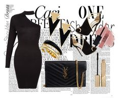 """one shoulder gold black"" by jenniferesxx ❤ liked on Polyvore featuring Whiteley, Yves Saint Laurent, Michael Kors, Jimmy Choo, Stila, Lipstick Queen and Maybelline"
