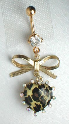 Unique Belly Ring -  Leopard Heart Pendant On Belly Ring. $10.95, via Etsy.