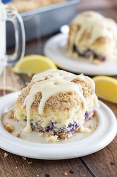 A blueberry cake with a hint of lemon, a cinnamon streusel, and cream cheese glaze. This dessert cake tastes like a blueberry flavored cinna...