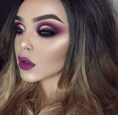 40 Stunning Purple Lipstick Makeup Ideas For You - Page 24 of 40 - Chic Hostess - - Make Up Looks, Gorgeous Makeup, Pretty Makeup, Flawless Makeup, Glitter Eyeshadow, Eyeshadow Makeup, Purple Lipstick Makeup, Lila Make-up, Sexy Make-up