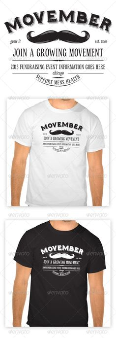 Movember T-Shirt  #tee shirt #vector #white • Available here → http://graphicriver.net/item/movember-tshirt/5924351?s_rank=106&ref=pxcr