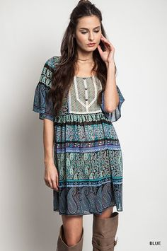 Paige Peasant Dress - Nobella Grace Boutique! Going to a concert this spring/summer? This dress is perfect! #nobellagrace #summerconcert #springfashion #fashion #bohochic