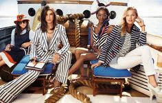 Tommy Hilfiger Spring Chloe Blackshire, Jacquelyn Jablonski, Jourdan Dunn, and Toni Garrn photographed by Craig McDean. Photos courtesy of Tommy Hilfiger Hilfiger Denim, Tommy Hilfiger, Toni Garrn, Fashion Show Themes, Fashion Outfits, Fashion Tips, Fashion Trends, Nautical Fashion, Trendy Fashion