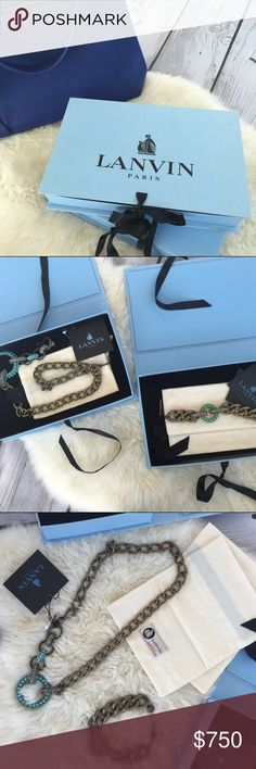LANVIN necklace & bracelet set AUTHENTIC with boxes, dust bags and tags!! turquoise and brass. lanvin pieces are handcrafted. bracelet worn once only. necklace can be worn as a belt as well. turquoise hues are different on each piece. the bracelet alone was $800 (tag included reads £635) additional pictures for serious inquiries only please. selling as a set Lanvin Jewelry Necklaces