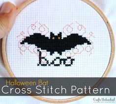 Here's a fun, simple (& free!) Halloween cross stitch bat pattern! It won't take much time to complete & will make a great addition to your Halloween decor!