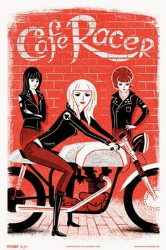 Cafe Racer girls. (repin Flavio Bruni) #illustration #caferacer #motorcycles…