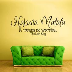 Wall Vinyl Sticker Decals Decor Art Bedroom Design Mural Words Sign Quote Hakuna Matata Lion King (z939) on Etsy, $28.99