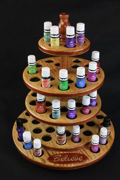 "Oak Display Rack for Essential Oils with a Paduk and Mahogany ""Believe ..."