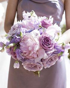 Lavender flowers- with dark purple bridesmaid dresses
