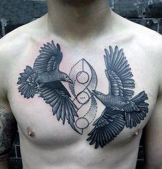bird man chest tattoo
