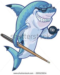 Vector cartoon clip art illustration of a tough mean smiling shark mascot wearing sunglasses and holding an eight ball and pool cue. Accessories are on a separate layer.