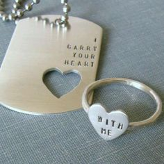 ☆ I Carry Your Heart Dog Tag and Sterling Silver Heart Ring 'Great Couples' ~Intertwine~ Etsy Shop: SilverMadeStudio ☆