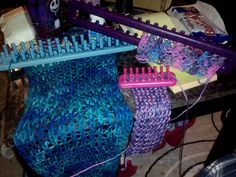 Loom knitting projects.....shrug, headband and scarf....wip