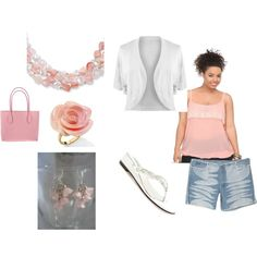 Pink and White Outfit, Plus Size, created by intcon on Polyvore