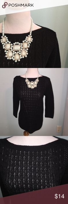 ❄️Winter clear out❄️Black sweater by Kim Rogers Size M. 3/4 sleeves. 100% acrylic. Kim Rogers Sweaters Crew & Scoop Necks