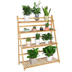 WOLTU 4-tier Natural Bamboo Plant Stand Foldable Ladder Flower Rack Display Shelf for Home Patio Balcony,SRK09bab