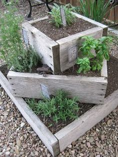Rustic planter boxes of large herb garden. On Crooked Creek: thyme for herbs. , , - Rustic planter boxes of large herb garden. On Crooked Creek: thyme for herbs. Rustic Planters, Herb Planters, Herb Garden Planter, Planter Ideas, Flower Planters, Garden Table, Vegetable Planter Boxes, Backyard Planters, Flowers Garden