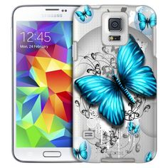 Samsung Galaxy S5 Highlighted Butterfly Blue Case