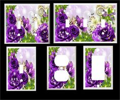 PURPLE BUTTERFLY BUTTERFLIES ROSE FLORAL  HOME DECOR  LIGHT SWITCH COVER PLATE #Leviton