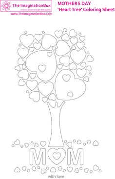 Decorate this free downloadable 'heart tree' picture for Mothers Day - make your own greetings card or special wall art