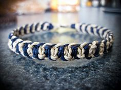 Storm Blue Fishbone Hemp Bracelet by HighonHemp on Etsy