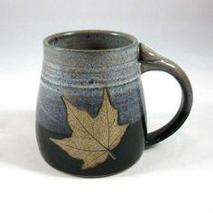 Stoneware Pottery Mug with Leaf by CrookedCreekStudio1 on Etsy, $24.00