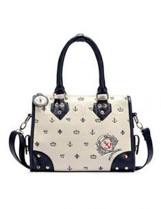 Casual Navy PU Leather Tote Bag For Women