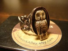 Victorian Style Owl Filigree Ring in Antique Silver (1397) on Wanelo