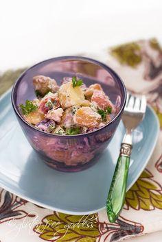 Vegan potato salad recipe made with tiny heirloom pink, purple and yellow potatoes and vegan Vegenaise mayo