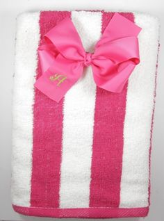 Shocking Pink Striped Cabana Beach Towel and Bow Set - $21.99