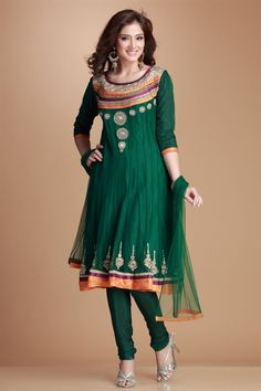 Mehndi- Soft nett kalidar kurta and sleeves lined with polycrepe. Neckline and daman with mix and match laces and detailed zardozi, zircon and crystal work. Shantoon churidar
