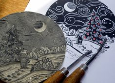 lino cut christmas scene - Google Search