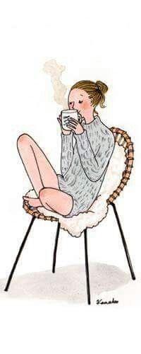 Kanaks illustration matin bonheur morning routine café coffe pull tendances half burn femme girly christmas time noel sapin cadeaux