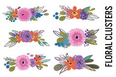 Watercolor Flower Bunches by Pepper on @creativemarket