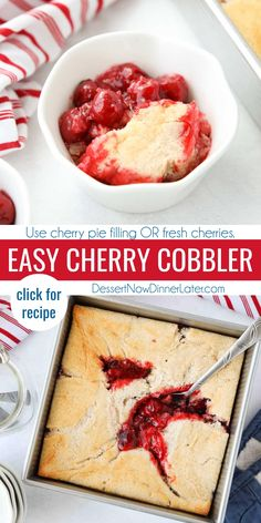 Easy Cherry Cobbler is fruity and delicious. Made with canned cherry pie filling (or fresh cherries) and baked with a quick homemade cake batter. Enjoy it warm with a scoop of ice cream for a delicious summer dessert. Best Dessert Recipes, Pie Recipes, Sweet Recipes, Dinner Recipes, Easy Cherry Cobbler, Fruit Cobbler, Cherry Desserts, Easy Desserts, Delicious Desserts