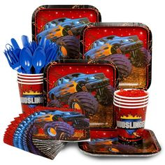 Check out Monster Truck Birthday Party Standard Tableware Kit Serves 8- BirthdayInaBox.com from Birthday In A Box