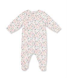 Pyjama in bedrukt tubic voor babymeisjes wit Lait / wit Multico - Petit Bateau