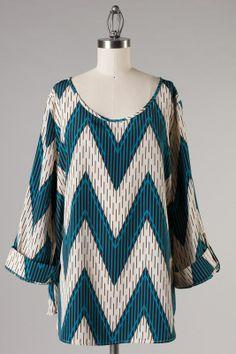 Teal Chevron Rolled Sleeve Tunic: Katybrooke Boutique