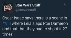 can't wait to see that one! <<< now I'm dying to see Episode VIII! I can't wait! <<I've been dying to see it since The Force Awakens ended 😂😂 Oscar Isaac, The Force Is Strong, Bad Feeling, Star Wars Humor, Carrie Fisher, Star Wars Rebels, Love Stars, Last Jedi, Geek Out