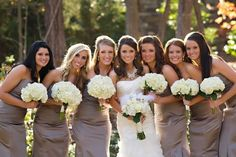 i love this! bridesmaid dresses (color) and bouquets (hydrangeas)!