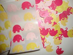 FREE SHIPPING 100 yellow, bright pink and light pink confetti plus 50 stickers-- baby shower-- elephant stickers-- envelope seal. $11.50, via Etsy.